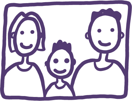 Illustration of two parents and a child